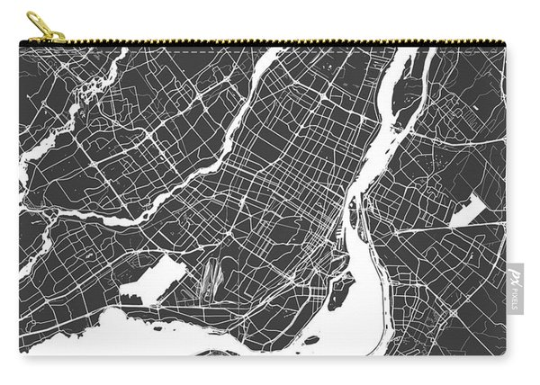 Montreal Map Black And White Carry-all Pouch