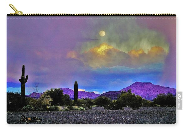 Moon At Sunset In The Desert Carry-all Pouch