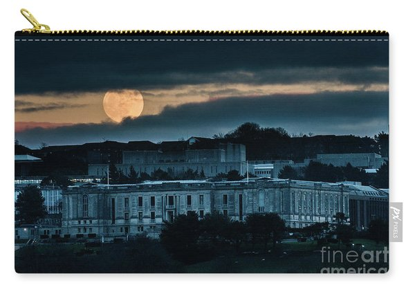 Moonrise Over The National Library Of Wales Carry-all Pouch