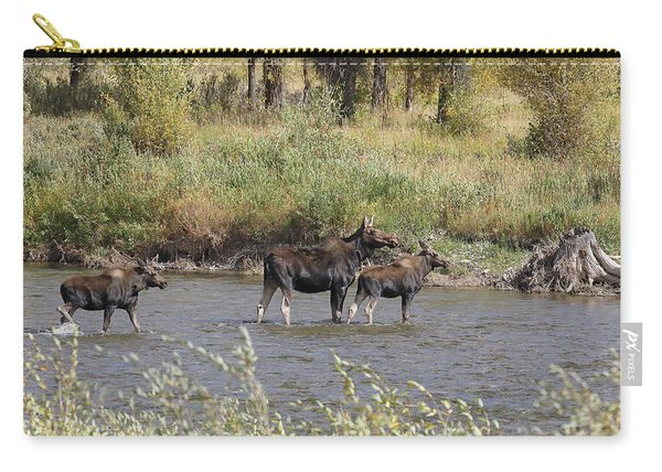 Carry-all Pouch featuring the photograph Moose With Twins by Jean Clark