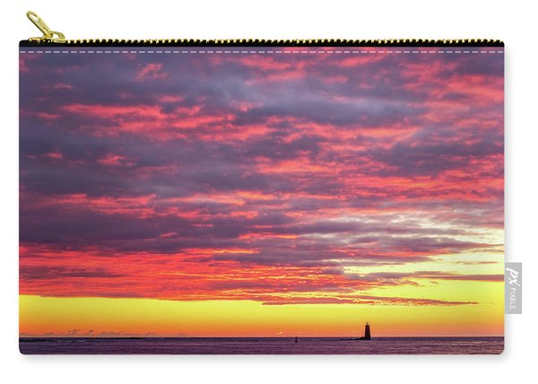 Carry-all Pouch featuring the photograph Morning Fire Over Whaleback Light by Jeff Sinon