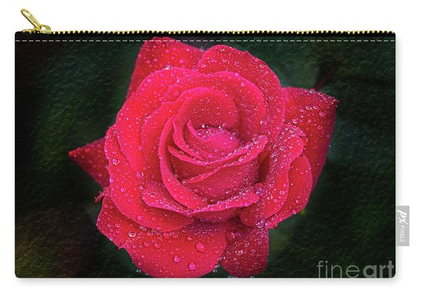 Morning Mist On Red Rose Carry-all Pouch