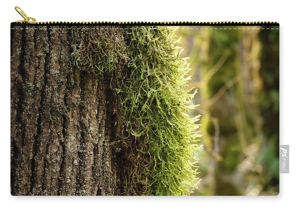 Carry-all Pouch featuring the photograph Moss On Bark by Whitney Goodey