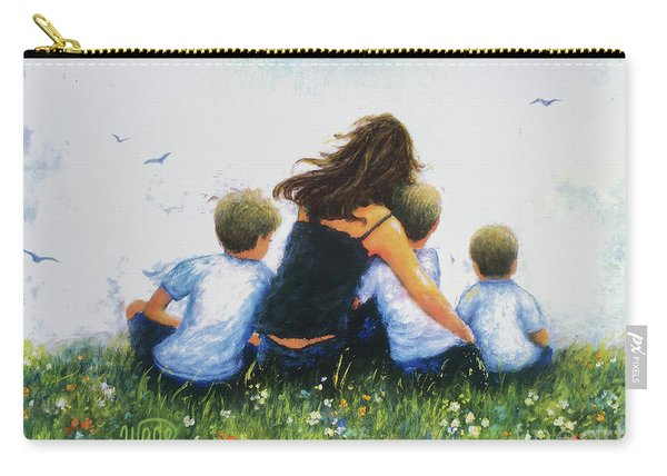 Mother And Three Sons Hugging Blonde Boys Carry-all Pouch