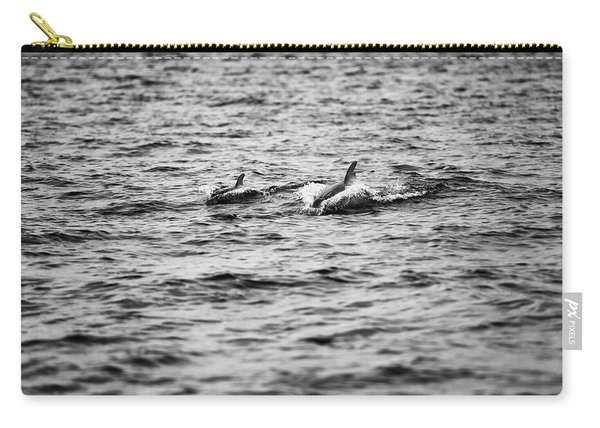 Mother Dolphin And Calf Swimming In Moreton Bay. Black And White Carry-all Pouch