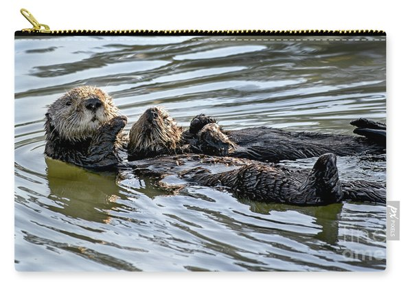 Mother Sea Otter Relaxing With Baby Carry-all Pouch