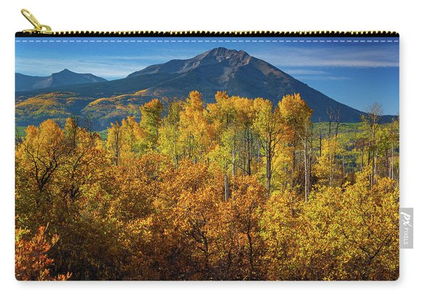 Carry-all Pouch featuring the photograph Mountains And Aspen by John De Bord