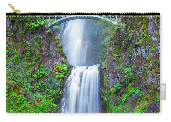 Carry-all Pouch featuring the photograph Multnomah Falls by Dheeraj Mutha