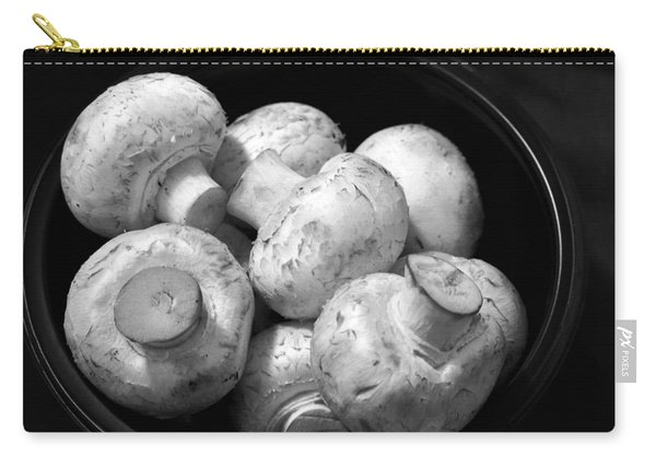 Mushrooms In A Bowl Black And White Carry-all Pouch