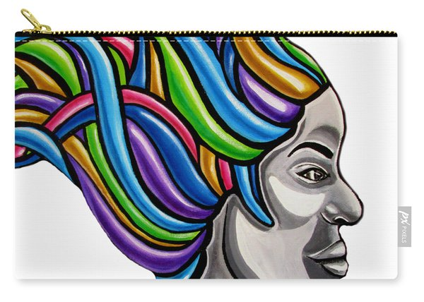 Colorful Abstract Black Woman Face Hair Painting Artwork - African Goddess Carry-all Pouch