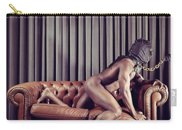 Naked Man With Mask On A Sofa Carry-all Pouch