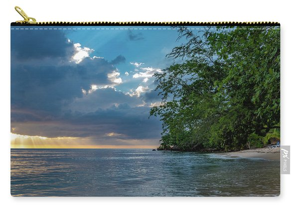 Negril Beach Sunburst At Sunset Carry-all Pouch