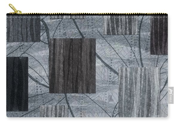 Neutral Toned Leaf Square Print Carry-all Pouch