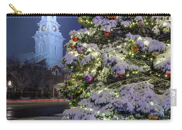 Carry-all Pouch featuring the photograph New Snow For Christmas by Jeff Sinon