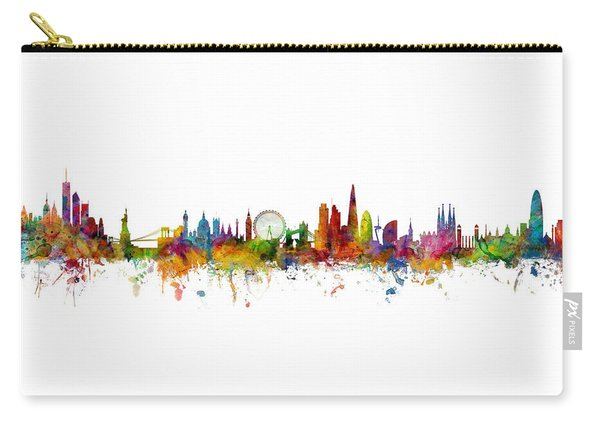 New York, London And Barcelona Skylines Mashup Carry-all Pouch
