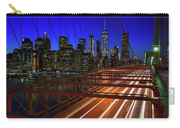 New York Skyline From The Brooklyn Bridge Carry-all Pouch