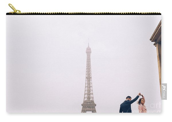Newly-wed Couple On Their Honeymoon In Paris, Loving Having A Date Near The Eiffel Tower Carry-all Pouch