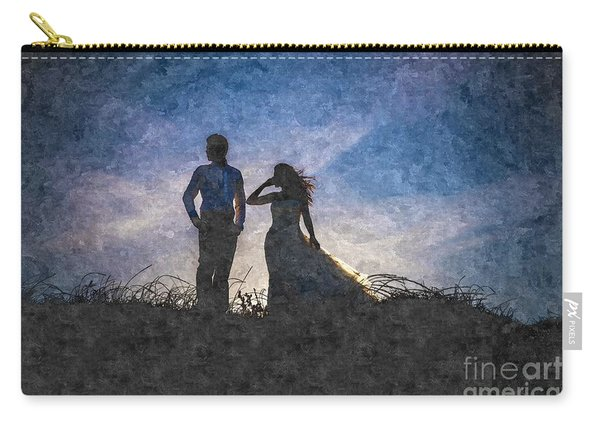 Newlywed Couple After Their Wedding At Sunset, Digital Art Oil P Carry-all Pouch