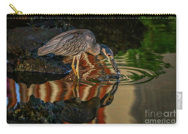 Carry-all Pouch featuring the photograph Night Heron Catch by Tom Claud