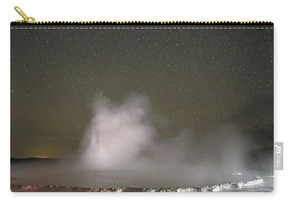 Carry-all Pouch featuring the photograph Nighttime At Great Fountain Geyser by Jean Clark