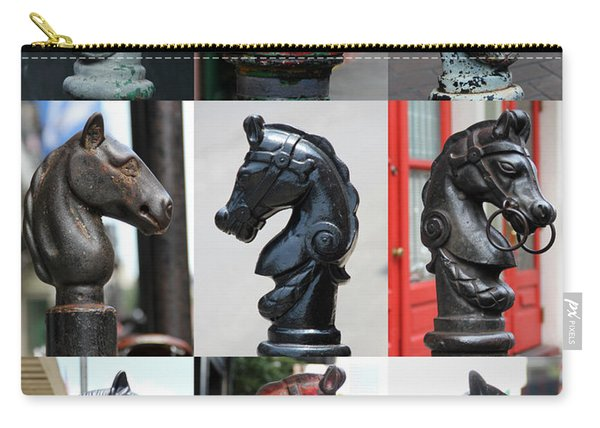 Nine Horse Head Hitching Posts Carry-all Pouch