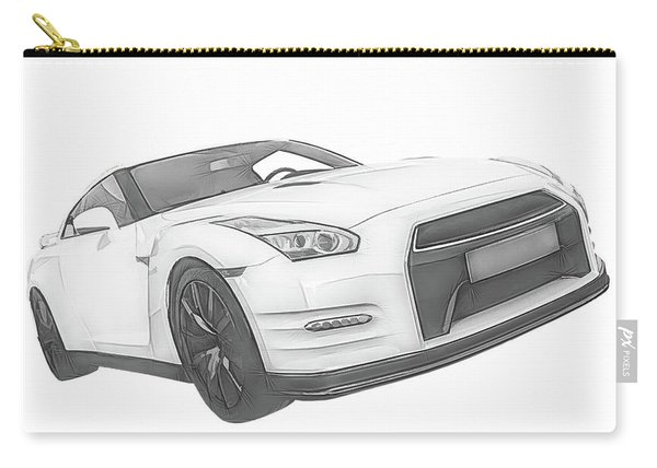 Nissan Gt-r Front Side Profile Digital Sketch Carry-all Pouch