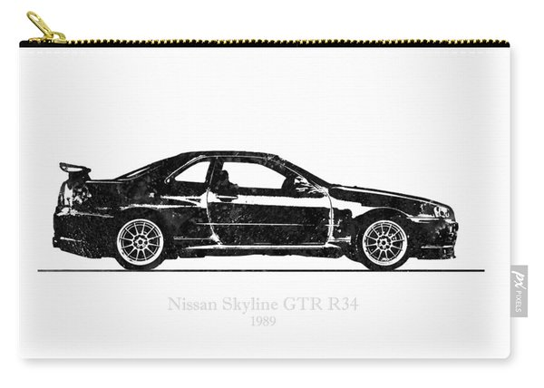 Nissan Skyline Gt-r R34 1989 Black And White Illustration Carry-all Pouch