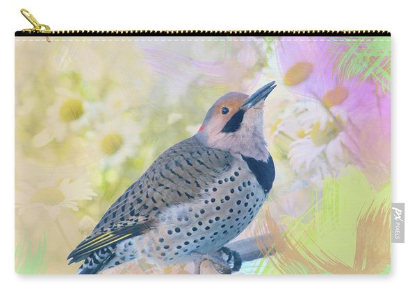 Northern Flicker Watercolor With Daisies Carry-all Pouch