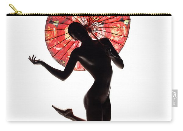 Nude Woman With Red Parasol Carry-all Pouch