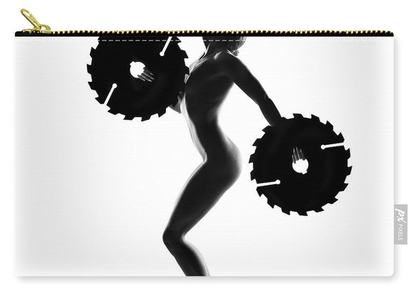 Nude Woman With Saw Blade 4 Carry-all Pouch