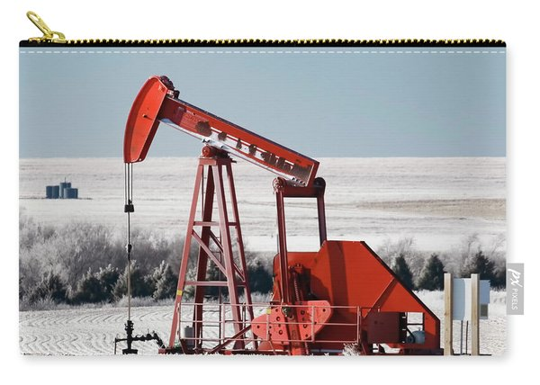 Carry-all Pouch featuring the photograph Oil Pump And Frost 01 by Rob Graham