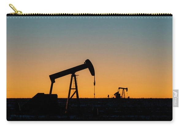 Carry-all Pouch featuring the photograph Oil Pumps After Sunset 02 by Rob Graham