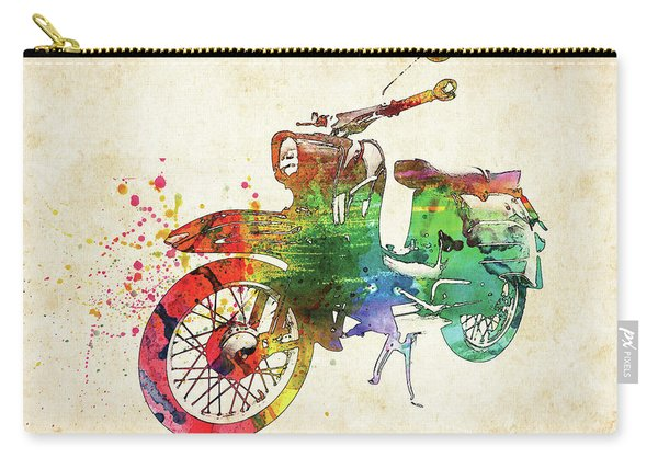 Old German Bike Colorful Watercolor Carry-all Pouch