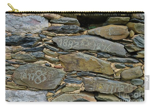 Old Schist Wall With Several Dates From 19th Century. Portugal Carry-all Pouch