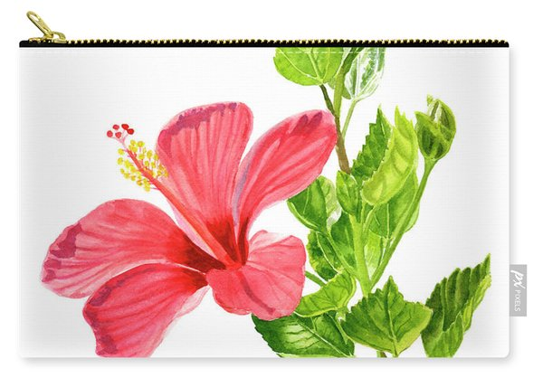 One Light Red Hibiscus Flower Carry-all Pouch
