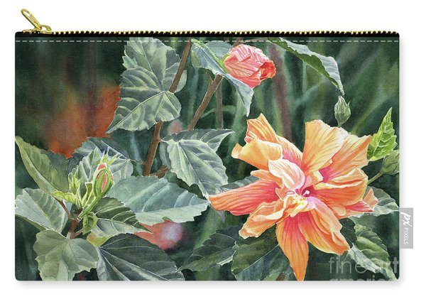 Orange And Deep Pink Double Hibiscus With Dark Background Carry-all Pouch