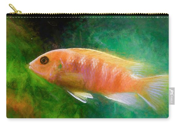 Carry-all Pouch featuring the digital art Orange Cichlid Chalk Smudge by Don Northup