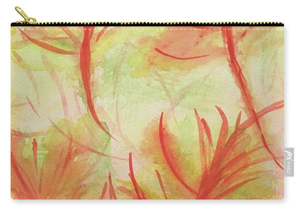 Orange Fanciful Leaves Carry-all Pouch