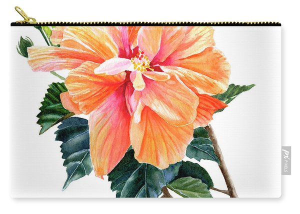 Orange Hibiscus Blossom Carry-all Pouch