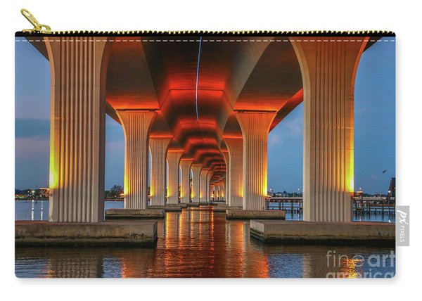 Carry-all Pouch featuring the photograph Orange Light Bridge Reflection by Tom Claud