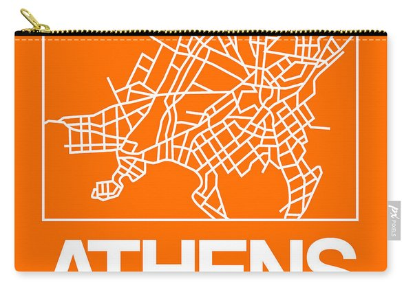 Orange Map Of Athens Carry-all Pouch