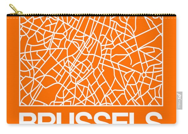 Orange Map Of Brussels Carry-all Pouch