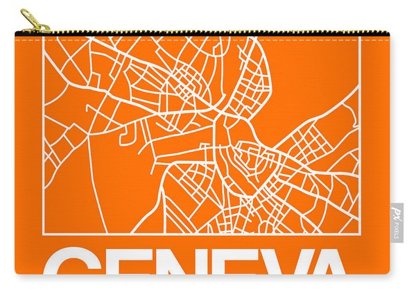 Orange Map Of Geneva Carry-all Pouch