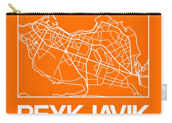 Orange Map Of Reykjavik Carry-all Pouch