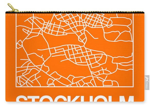 Orange Map Of Stockholm Carry-all Pouch