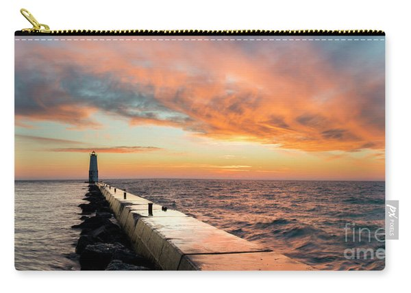 Orange Skies Over Frankfort Lighthouse Carry-all Pouch