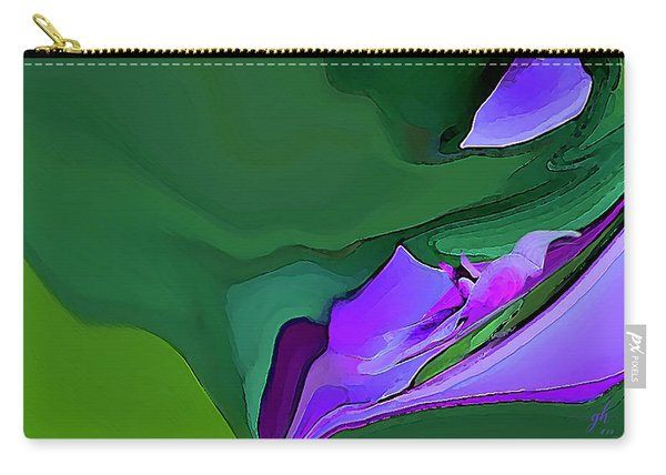 Carry-all Pouch featuring the digital art Orchids And Emeralds by Gina Harrison