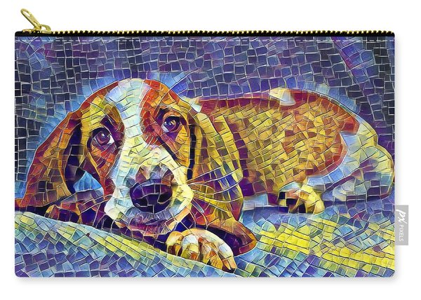 Carry-all Pouch featuring the digital art Otis The Potus Basset Hound Dog Art  by Don Northup