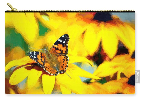 Carry-all Pouch featuring the photograph Painted Lady Butterfly Van Gogh by Don Northup