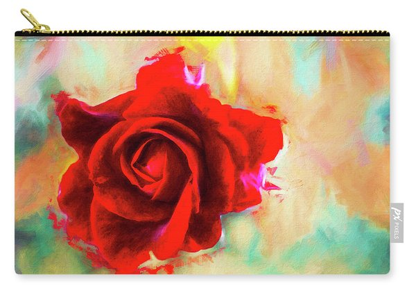 Painted Rose On Colorful Stucco Carry-all Pouch